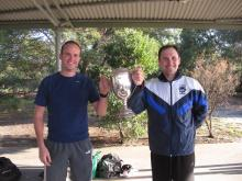 Nim Gorrie winner Damien Bertram with winter captain Dan Halliday